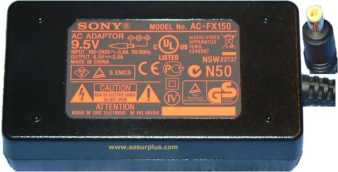 SONY AC-FX150 AC ADAPTER 9.5VDC 2A Power Supply