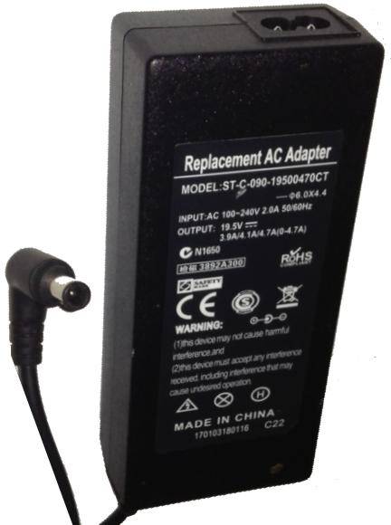 ST-C-090-19500470CT REPLACEMENT AC ADAPTER 19.5VDC 3.9A / 4.1A /