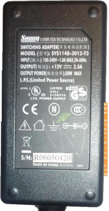 SUNNY SYS1148-3012-T3 AC ADAPTER 12V 2.5A 30W I.T.E POWER SUPPLY