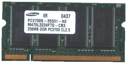 SAMSUNG PC2700S-25331-A0 SDRAM 256MB PC133 RAM SODIMM 144Pin