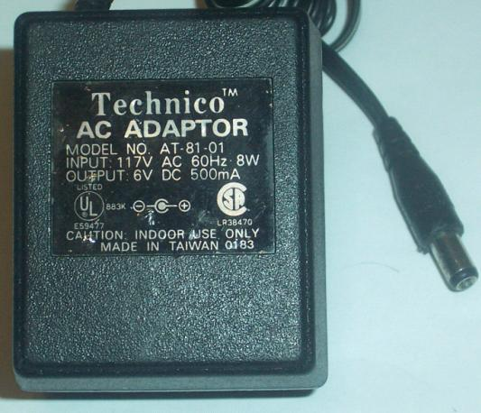 TECHINICO AT-81-01 AC DC ADAPTER 6V 500MA POWER SUPPLY