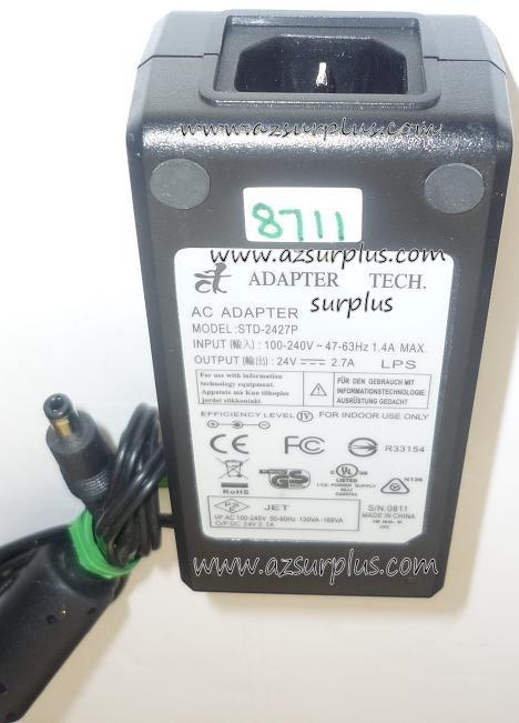 TECH STD-2427P AC ADAPTER 24VDC 2.7A USED -(+) 2.5x5.5x9.5mm ROU