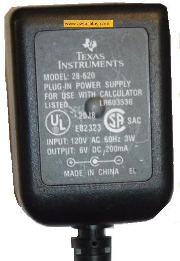 TEXAS INSTRUMENTS 28-620 AC ADAPTOR 6V 200mA PLUG IN POWER SUPPL