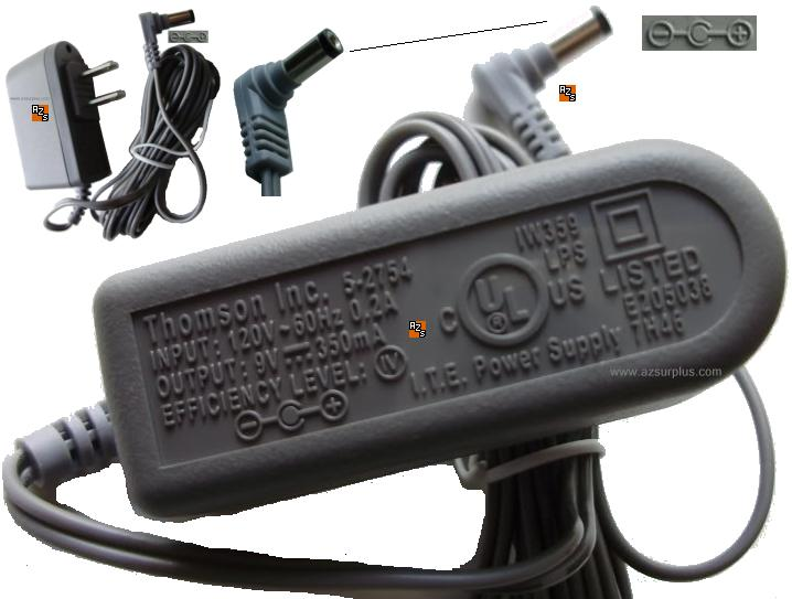 THOMSON 5-2754 AC ADAPTER 9VDC 350mA 7.5W ITE CLASS 2 POWER SUPP