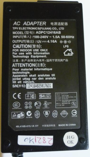 TPV ADPC12416AB AC ADAPTER 12V 4.16A ACER NOTEBOOK POWER SUPPLY