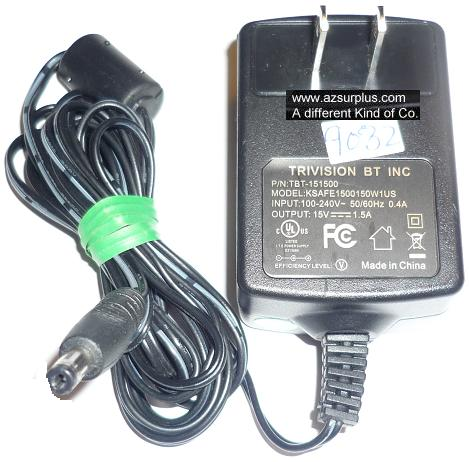 TRIVISION KSAFE1500150W1US C AC ADAPTER 15VDC 1.5A USED -(+) 1.5
