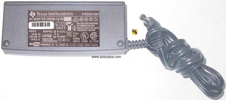 TEXAS INSTRUMENTS ZVC36-18 D4 AC ADAPTER 18VDC 2A 36W -(+)- for