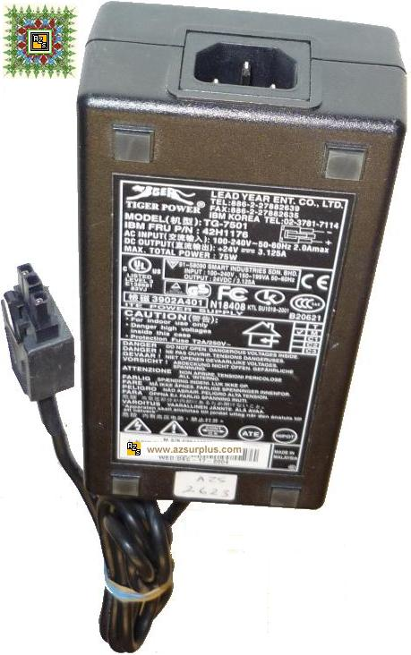 IBM Tiger Power TG-7501 42H1176 AC ADAPTER +24VDC 3.125A 75W 3Pi