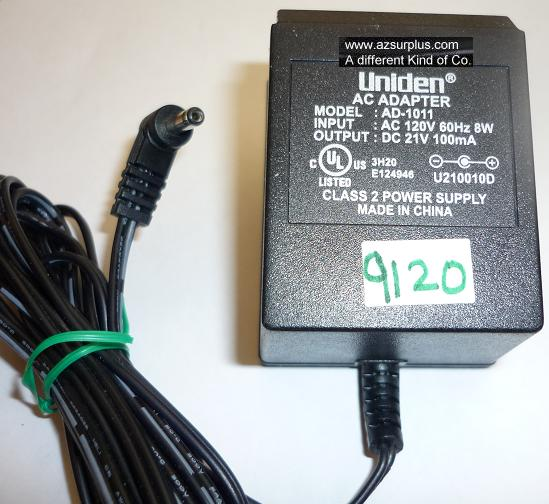UNIDEN AD-1011 AC ADAPTER 21VDC 100mA USED -(+) 1x3.5x9.8mm 90°R