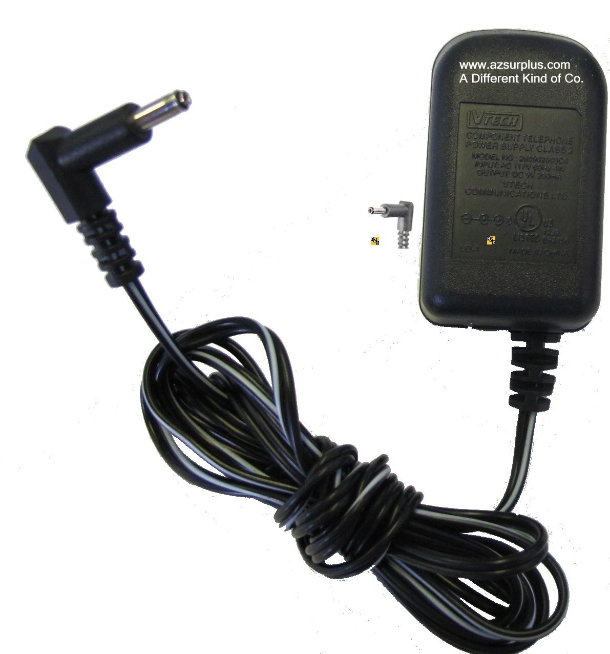 VTECH 280802OO3CO AC ADAPTER 9VDC 200mA USED -(+) 1.2x3.5mm 90°