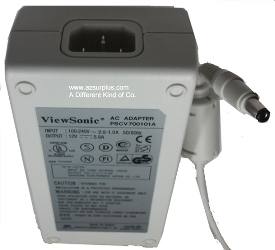 ViewSonic PSCV700101A AC ADAPTER 12VDC 5.8A New -(+)- 2x5.5mm 10