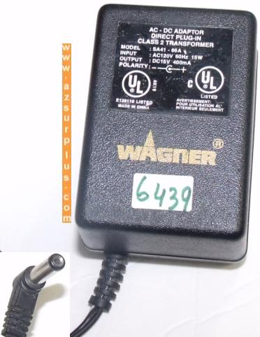 WAGNER SA41-66A AC ADAPTER 15VDC 400mA DIRECT PLUG IN CLASS 2 TR