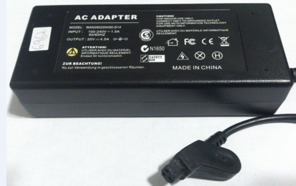 WAN090200450-D14 AC ADAPTER 20VDC Used -(+)- 3 HOLE PIN