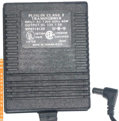WP571812D AC ADAPTER 12V DC 1.5A POWER SUPPLY