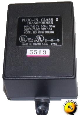 WP57201BDG AC ADAPTER 18V 1.1A PLUG IN CLASS 2 TRANSFORMER POWER