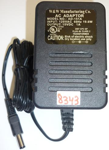 W&W AD-151A AC ADAPTER 15VDC 1A USED -(+) 2x5.5mm ROUND BARREL P