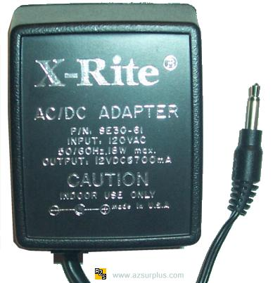 X-RITE SE30-61 AC ADAPTER 12VDC 700mA -(+) 120Vac Used 3.5mm Mon