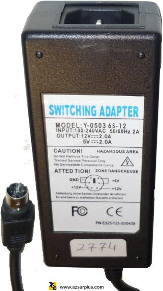 Switching Adapter Y-0503 6S-12 AC Adptor 12VDC 5V DC 2A Power Su