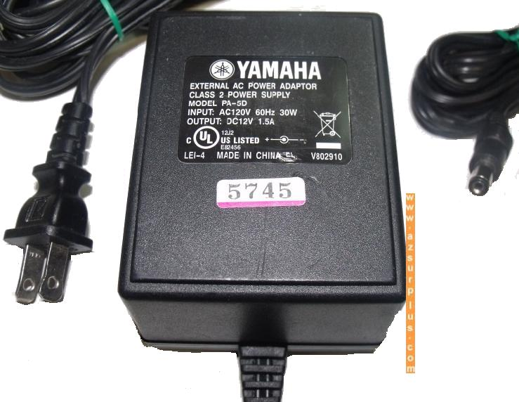 YAMAHA PA-5D AC ADAPTER 12Vdc 1.5A -(+) 2x5.5mm 120vac ~ Linear