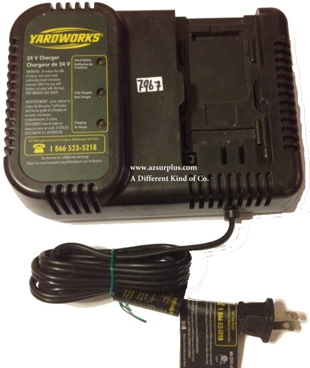 YARDWORKS CS24 BATTERY CHARGER CC 24VDC USEDNCA 120V~60Hz AC