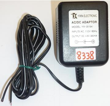YIXIN ELECTRONIC YX-3515A1 AC ADAPTER 4.8VDC 300mA USED -(+) CUT
