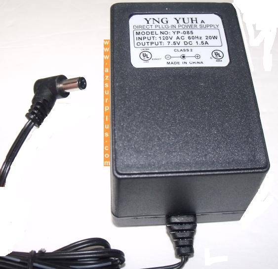YNG YUH YP-085 AC ADAPTER 7.5VDC 1.5A New 2.2 x 5.4 x 10.2 mm 9