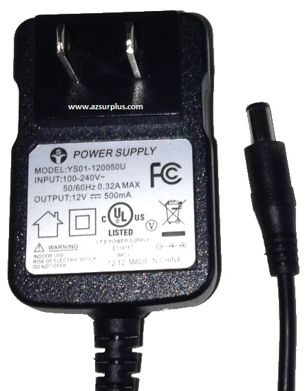 YS01-120050U AC ADAPTER 12V DC 500mA USED 2 x 5.4 x 10.4 mm STRA