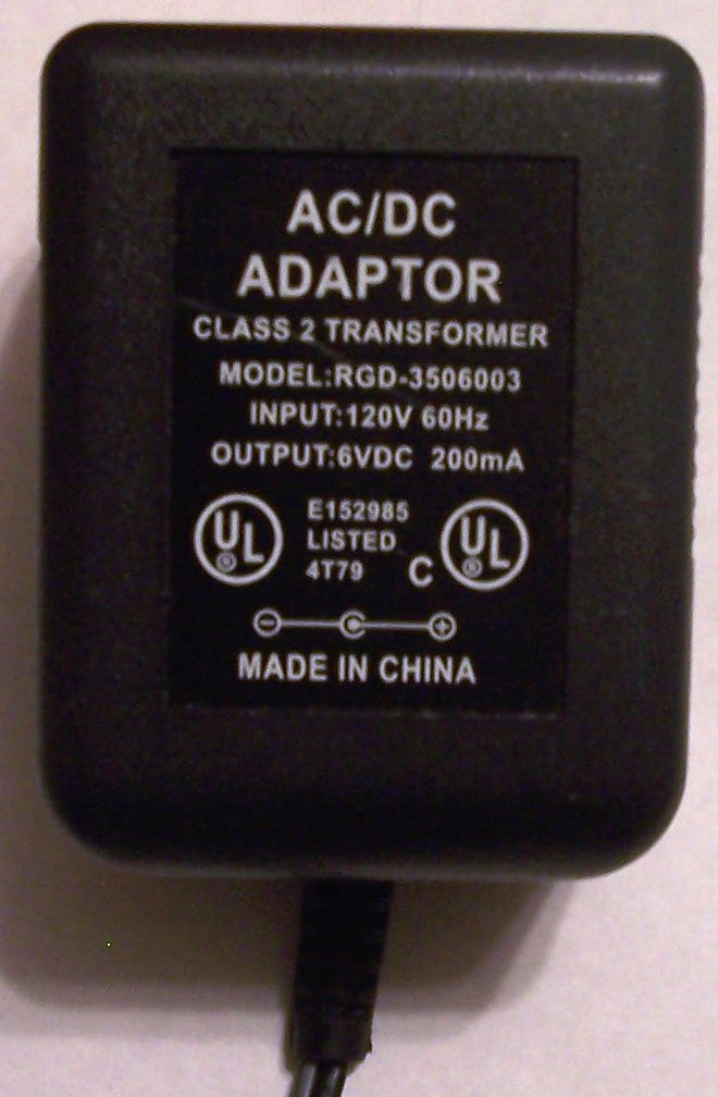 RGD-3506003 AC DC ADAPTER 6VDC 200mA POWER SUPPLY