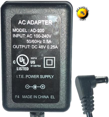 AD-300 AC Adapter 48Vdc 0.25A -(+) 2.5x5.5mm 90° POWER SUPPLY 3G