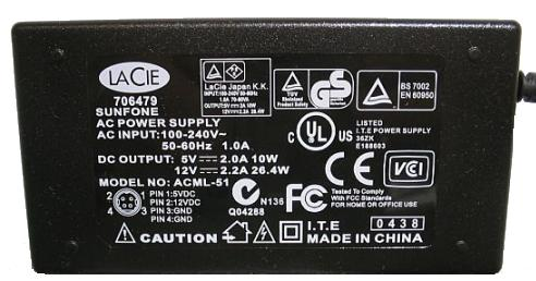 LACIE ACML-51 AC Adapter 5V 2A 12V 2.2A 4P Power Supply BENQ LCD