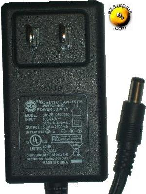 ALTEC LANSING S012BU0500250 AC ADAPTER 5Vdc 2500mA -(+) 2x5.5mm