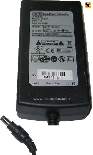 APD DA-30I12 AC ADAPTER 12VDC 2.5A Power Supply for External HDD