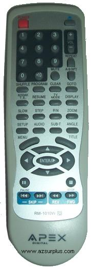APEX DIGITAL RM-1010W REMOTE CONTROL FOR Home DVD PLAYER