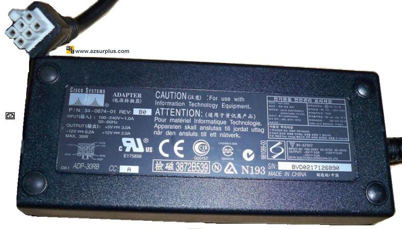 CISCO ADP-30RB AC ADAPTER 5V 3A 12VDC 2A 12V 0.2A 6PIN MOLEX 91-