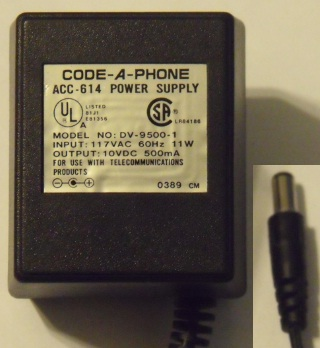 CODE-A-PHONE DV-9500-1 AC ADAPTER 10V 500MA POWER SUPPLY