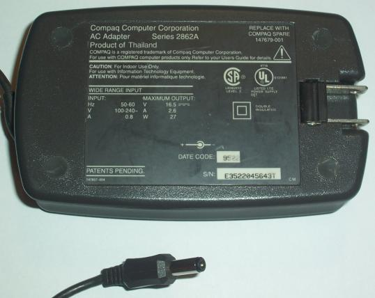 COMPAQ SERIES 2862A AC ADAPTER 16.5VDC 2.6A -(+) 2x5.5mm Used 10