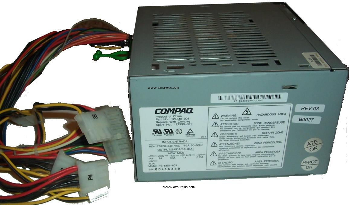 COMPAQ PS-6151-6C1 ATX 145W POWER SUPPLY