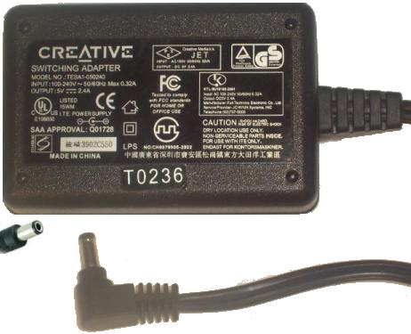 CREATIVE TESA1-050240 AC DC ADAPTER 5V 2.4A POWER SUPPLY