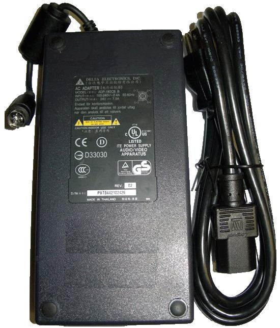 Delta ADP-180CB B AC Adapter 24V 7.5A 4 Pin Din Connector