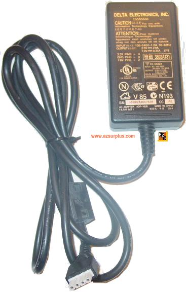 Delta ADP-10JB AC DC adapter 3.3V 2A 7V 0.3A 15555550 4Pin Power