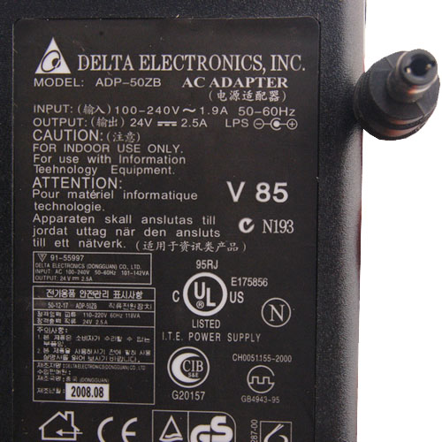 Delta ADP-50ZB HP AC ADAPTER 24VDC 2.5A -(+) 2.5x5.5mm Used 100-