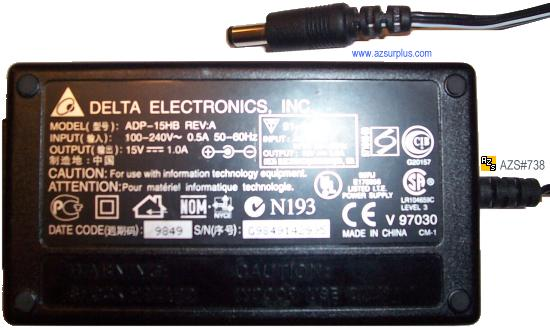 DELTA ADP-15HB AC ADAPTER 15VDC 1A -(+)- 2x5.5mm Used POWER SUPP