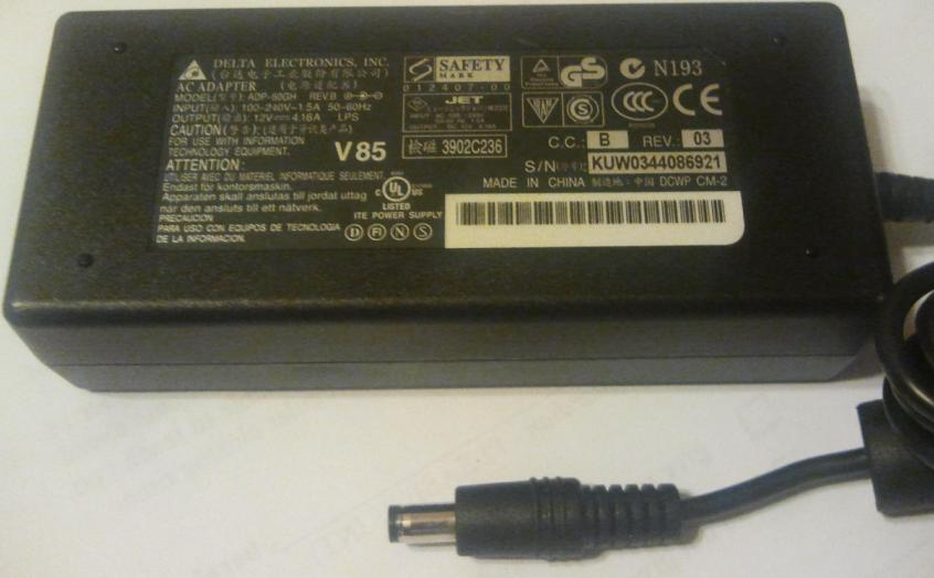 DELTA ADP-50GH REV.B AC ADAPTER 12VDC 4.16A USED 2 x 5.5 x 9.5mm