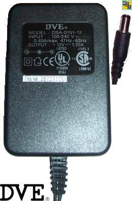 DVE DSA-0151-12 AC Adapter 12VDC 1.25A POWER SUPPLY