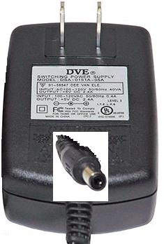 DVE DSA-0151A-05A AC ADAPTER 5VDC 2.4A -(+)- 2.1x5.5mm Used POWE