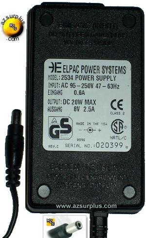 ELPAC POWER SYSTEMS 2534 AC ADAPTER 8VDC 2.5A 20W POWER SUPPLY