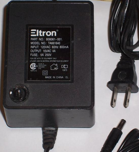 ELTRON TA661640 AC ADAPTER 16V 4A POWER SUPPLY