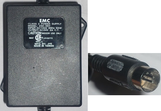 EMC 250-007 AC ADAPTER 24Vac 2A 5Pin Din 13mm Male POWER SUPPLY