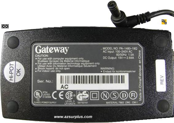 GATEWAY 2000 ADP-50FB AC ADAPTER 19VDC 2.64A 6500731 NOTEBOOK P