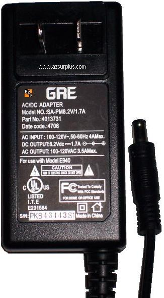 GRE SA-PM8.2V/1.7A AC ADAPTER 8.2V DC 1.7A -(+) 2x5.5mm Used 10